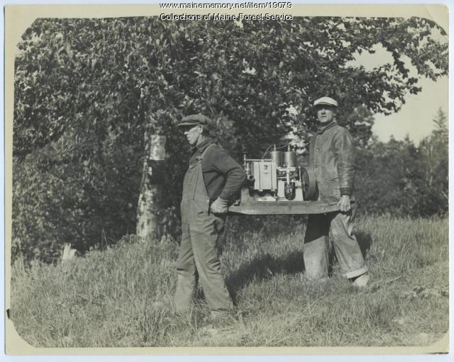 Portable fire pump, ca. 1930
