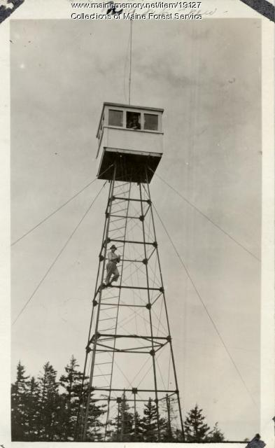 New lookout tower, Number Nine Mountain, ca. 1920