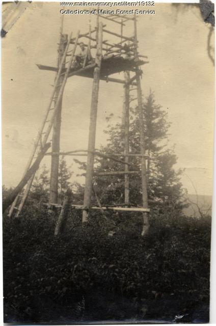Forest Service crow's nest, Spoon Mountain, ca. 1920