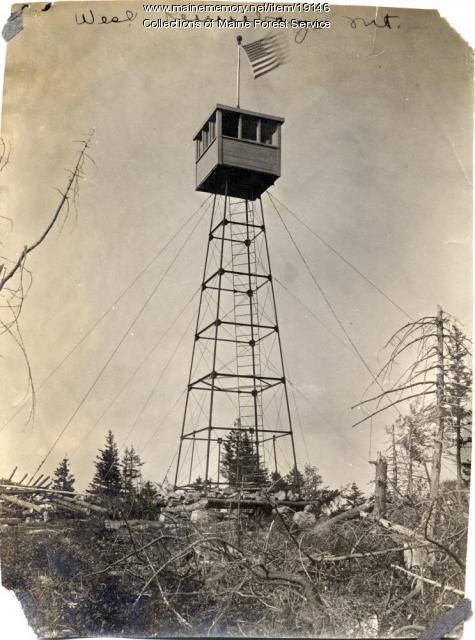 Fire lookout tower, West Kennebago Mountain, ca. 1920