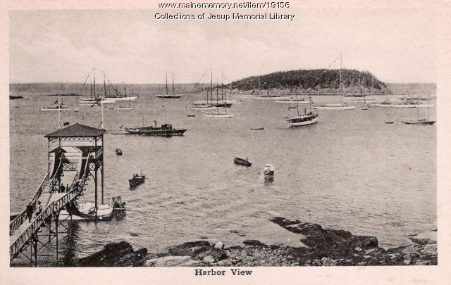 View of the harbor, Bar Harbor, ca. 1920