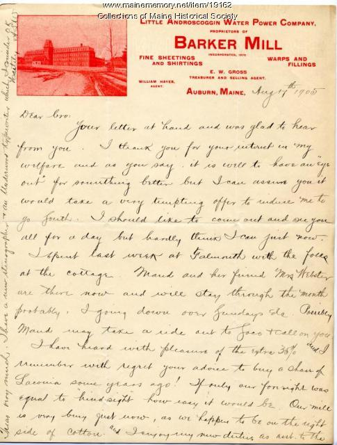 Allen Winslow letter to brother, 1905