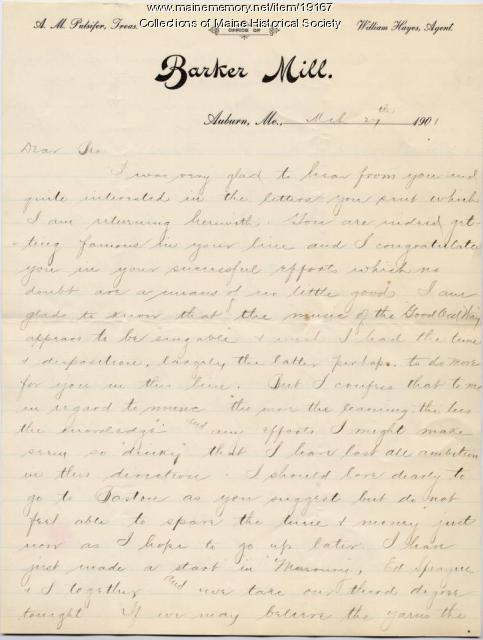 Allen Winslow letter concerning Masons, mill business