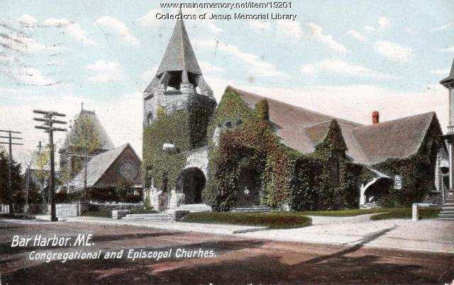 The Congregational and Episcopal Churches in Bar Harbor, ca. 1920