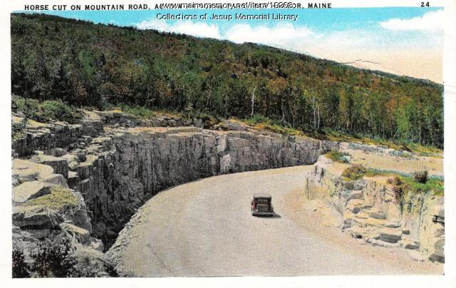 Horse Cut on Mountain Road, Acadia National Park, ca. 1930