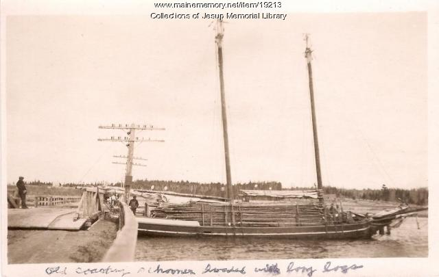 Old Coasting Schooner Loaded with Logs