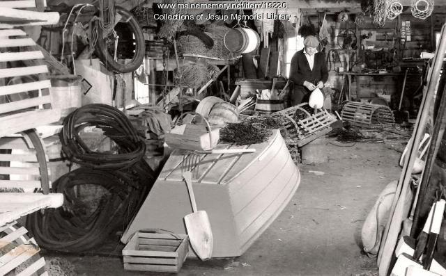 Maine Lobster Fisherman's Workshop, Bar Harbor, ca. 1960