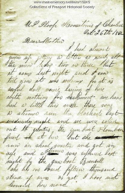 John M. Dillingham letter to his mother, October 26, 1862