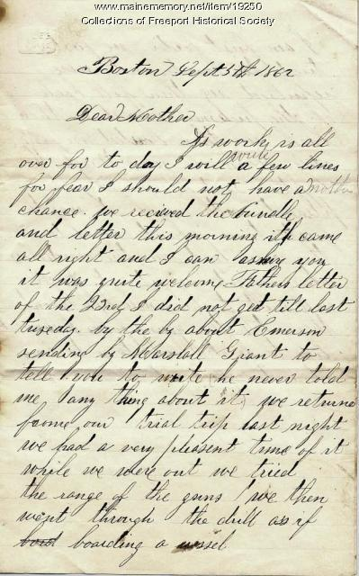 John M. Dillingham to his mother, September 5, 1862