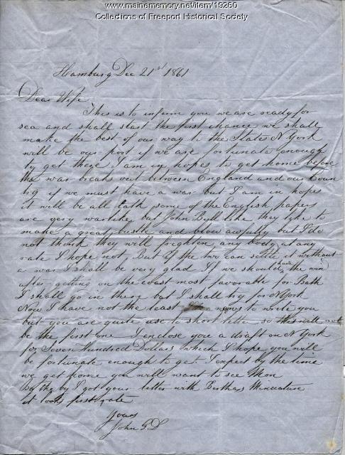 Capt. John G. Dillingham letter to wife, December 21, 1861
