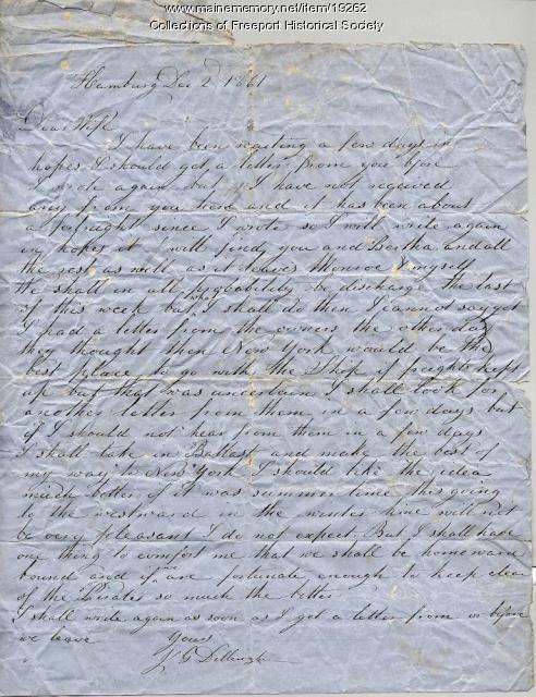 Letter written by Capt. John G. Dillingham to his wife Margaret, December 2, 1861