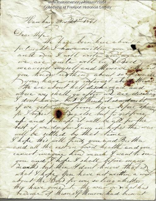 Letter written by Capt. John G. Dillingham to his wife Margaret, November 21, 1861