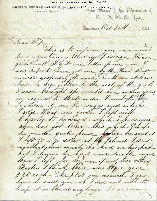 John G. Dillingham letter to his wife, October 20, 1861