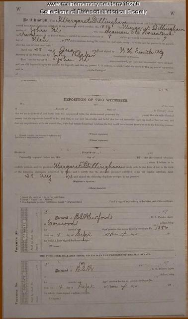 Civil War pension for Margaret D. Dillingham, March 9, 1872