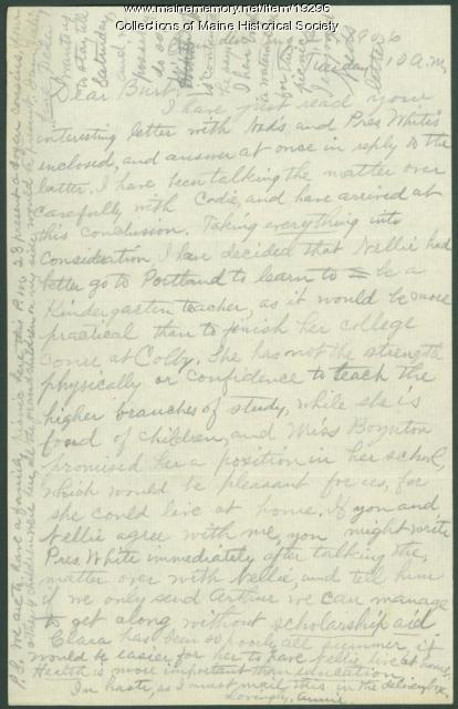 Annie Winslow to Burton Winslow on daughter's education, 1906