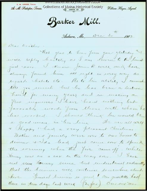 Allen Winslow on business recommendation, 1902