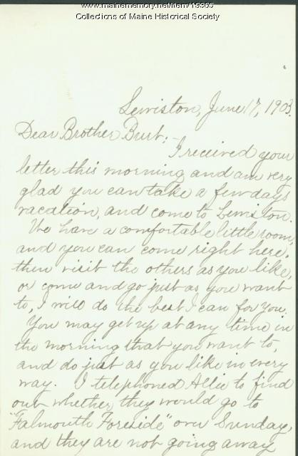 Ida Skinner letter to brother, 1903