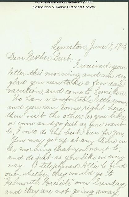 Ida Skinner letter to brother, 1903