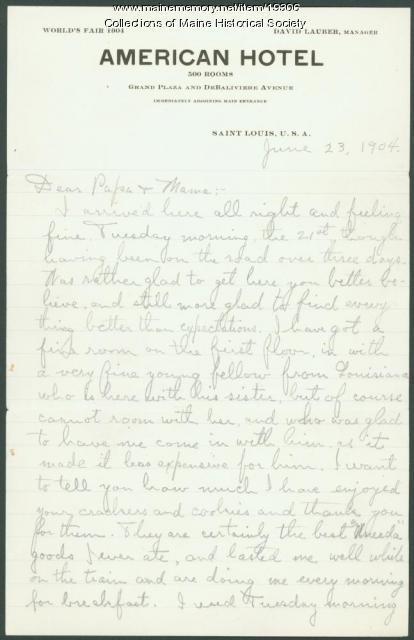 Arthur Winslow letter from World's Fair, 1904