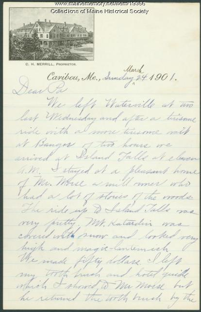 Edward Winslow letter to father, Caribou, 1901