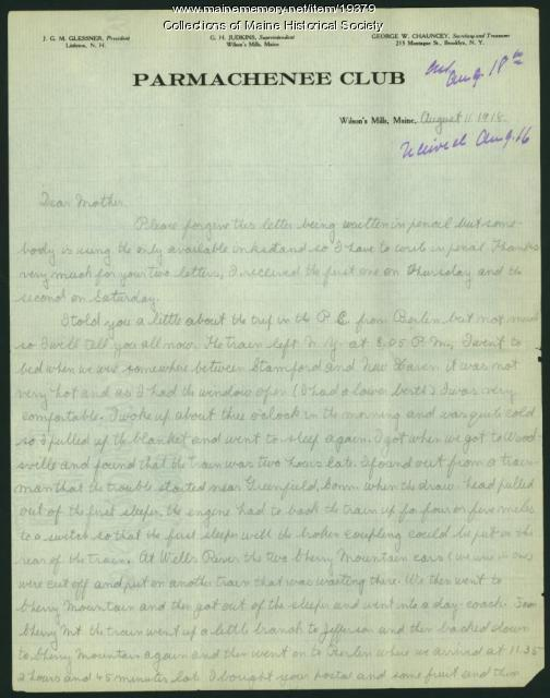 Harris Colt letter from Parmachenee, 1918