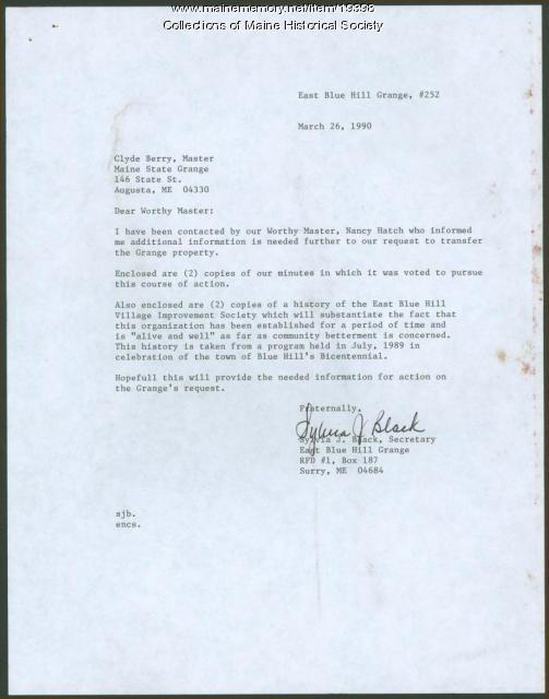 Request to transfer Grange property, Surry, 1990