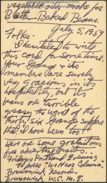 Bean supper complaint, 1950