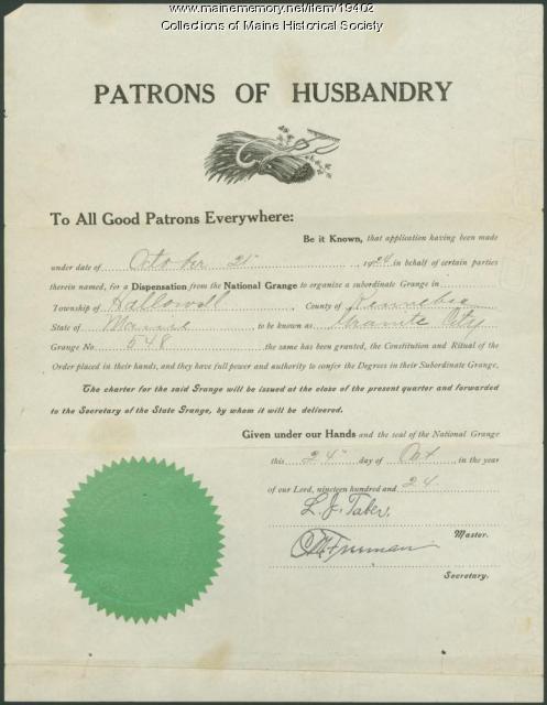 Dispensation for new Grange, Hallowell, 1924