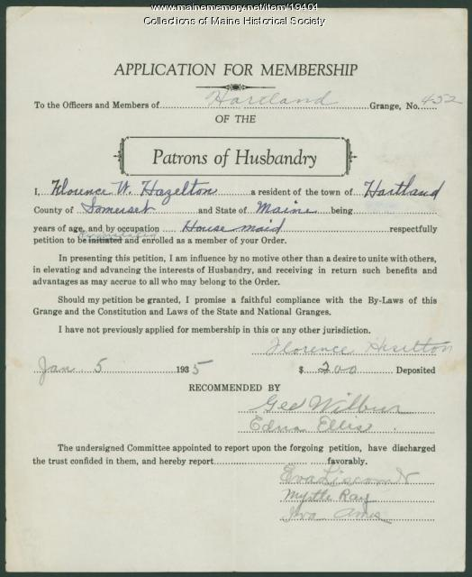 Application for reinstatement, Hartland Grange, 1935