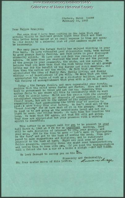Letter concerning Hartland Grange problems, 1965