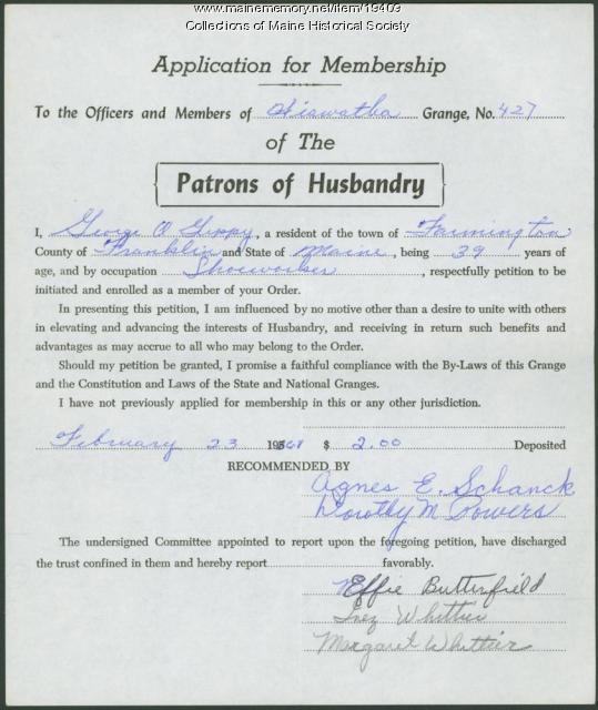 Hiawatha Grange membership application, Farmington, 1968