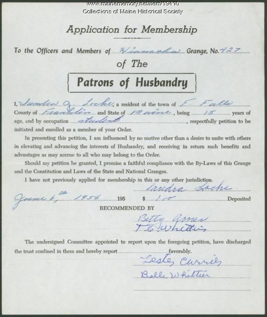 Grange membership application, Farmington, 1956