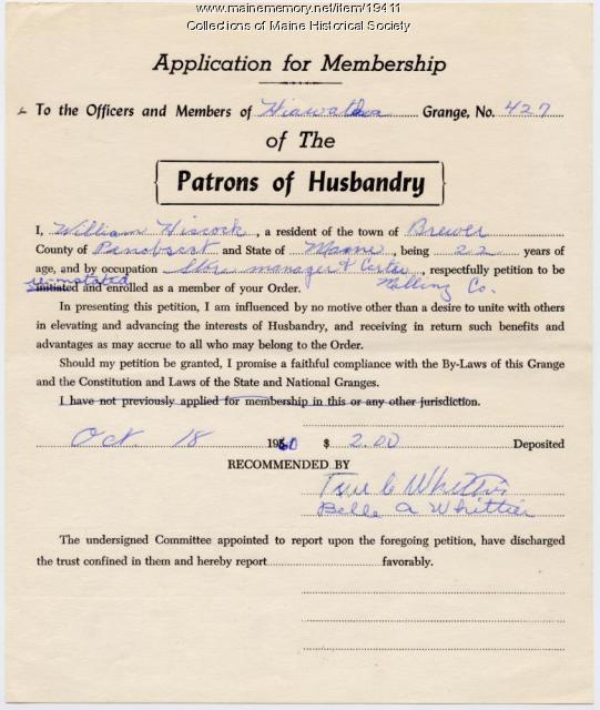 Reinstatement application, Hiawatha Grange, 1960
