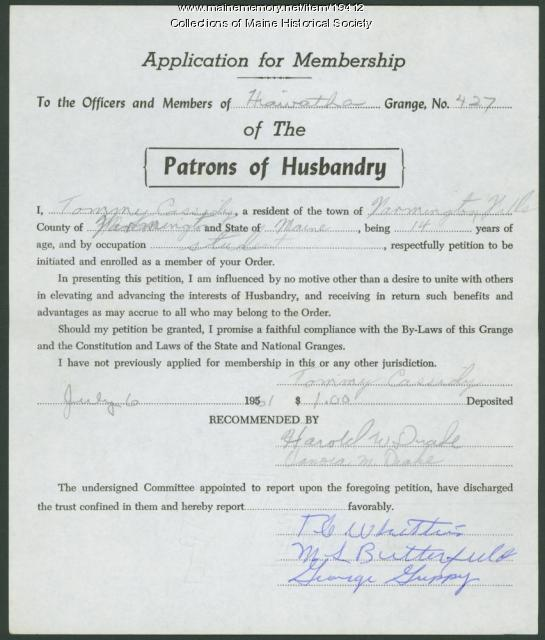 Student Grange membership application, 1961