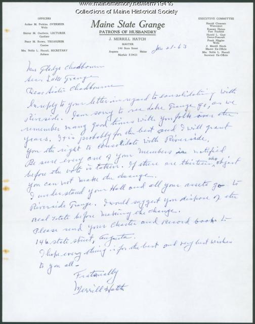 Letter concerning Grange consolidation, 1963