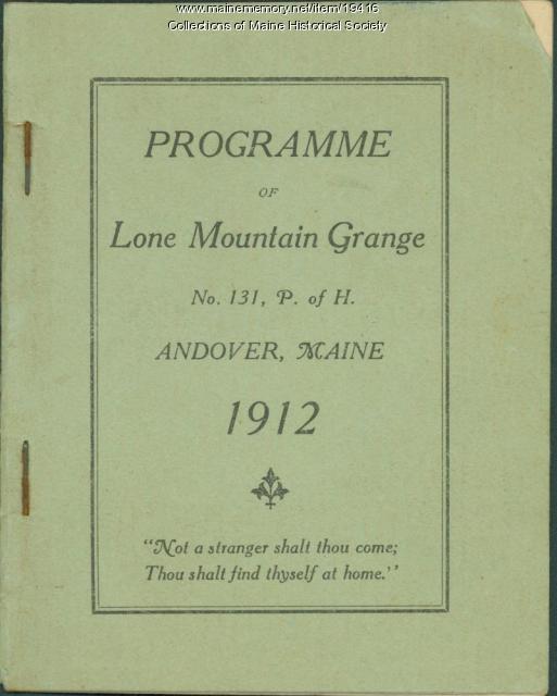 Lone Mountain Grange program, Andover, 1912