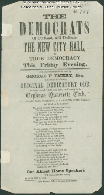Public notice of City Hall dedication, 1859