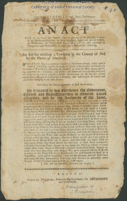 Proclamation, establishment of Brunswick, 1738