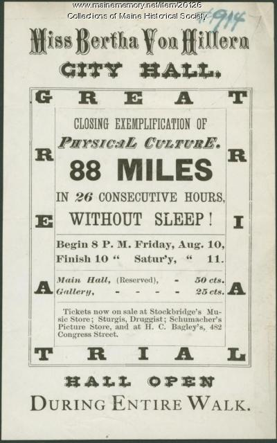 Physical culture performance flyer, Portland, ca. 1877