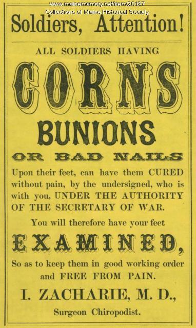 Surgeon, chiropodist advertisement, ca. 1862