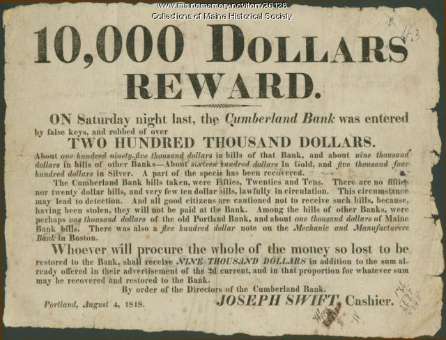 Reward broadside, Portland, 1818
