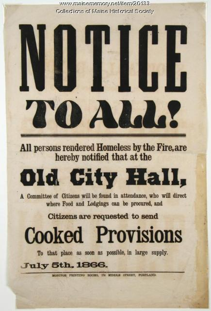 Notice of services for fire victims, Portland, 1866
