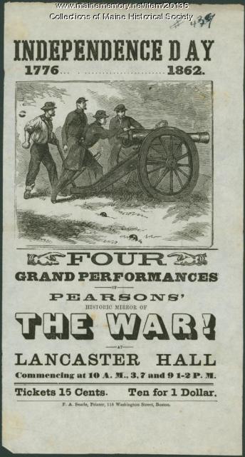 Playbill, Portland, 1862