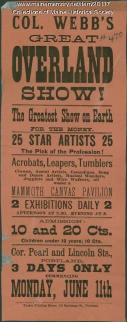 Overland Show playbill, ca. 1880