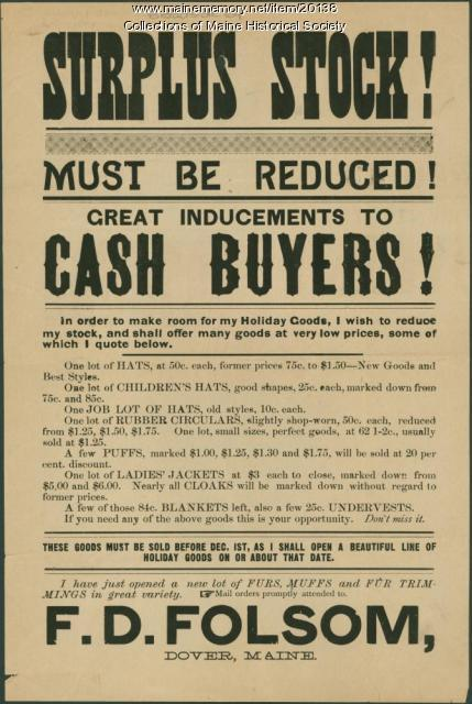 Advertisement for sale of surplus stock, Dover, ca. 1880