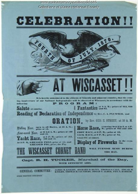 Fourth of July celebration notice, Wiscasset, 1870