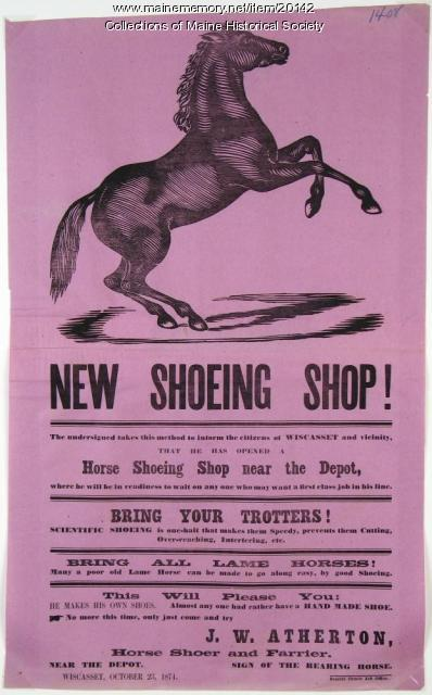 Horse shoeing shop advertisement, Wiscasset, 1874