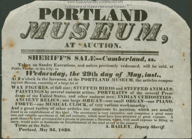 Notice of museum auction, Portland, 1839