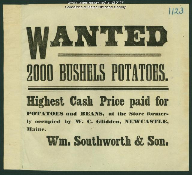 Notice seeking potatoes, Newcastle, ca. 1870