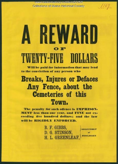 Reward for cemetery damage, ca. 1870
